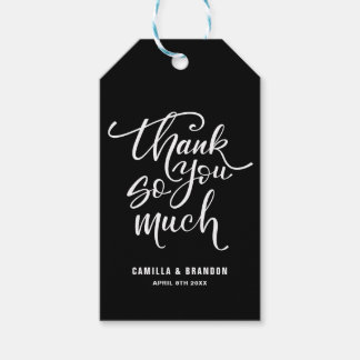Black & White Thank You So Much Lettering Gift Tag