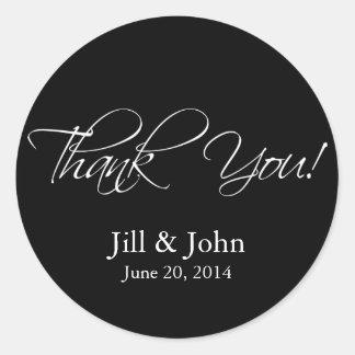 Black White Thank You Wedding Favour Sticker