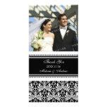 Black White Thank You Wedding Photo Cards