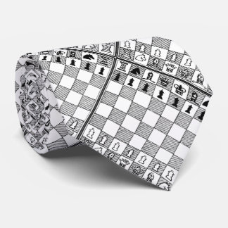 Black & White Themed Chess Pieces Board Game Tie