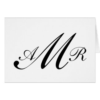 Black White Three Initials Monogram Script Card