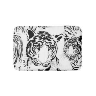 Black White Tigers Pattern Print Design Bathroom Mat