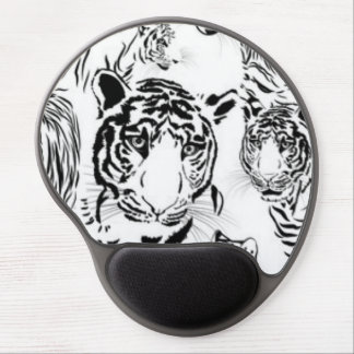 Black White Tigers Pattern Print Design Gel Mouse Pad