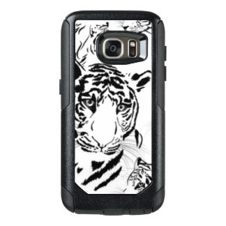 Black White Tigers Pattern Print Design OtterBox Samsung Galaxy S7 Case