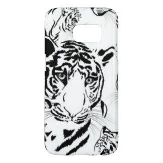 Black White Tigers Pattern Print Design Samsung Galaxy S7 Case