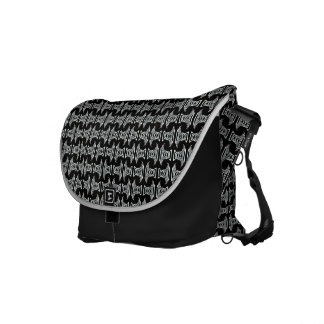 black white tiki pattern courier bag