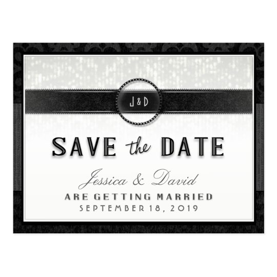 Black White & Touch of Gold Art Deco Save the Date Postcard