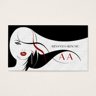 Black & White Touch Of Red-Beauty Template Business Card
