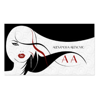 Black & White Touch Of Red-Beauty Template Pack Of Standard Business Cards