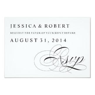 Black & White Traditional Wedding RSVP Card