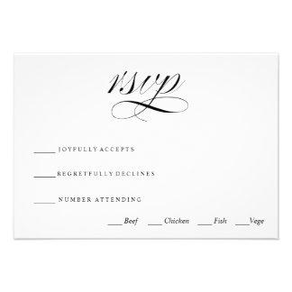 Black White Traditional Wedding RSVP Card Invite