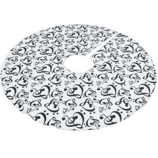 Black White Treble Bass Clef Heart Music Christmas Brushed Polyester Tree Skirt