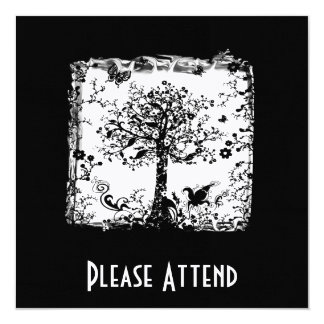Black & White Tree Butterfly Silhouette Card