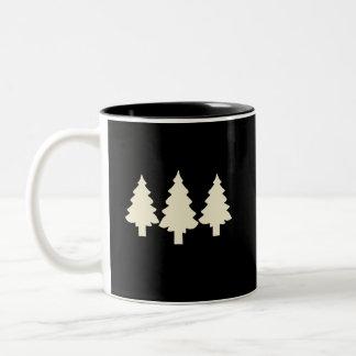 Black/White Trees Two-Tone Coffee Mug