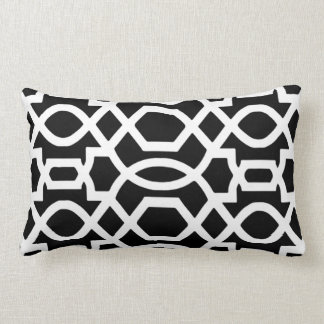 Black & White Trellis Print Throw Pillow