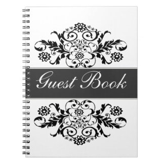 Black White Trendy Artistic Classic Damask Journal