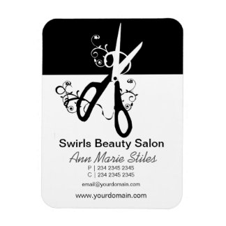Black White  Trendy Beauty Salon Magnet