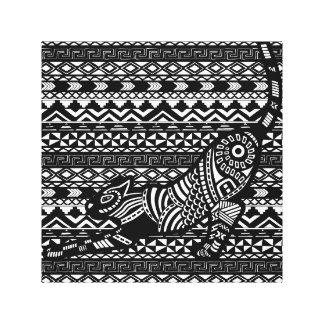 Black & White Tribal Cat on pattern Canvas Print