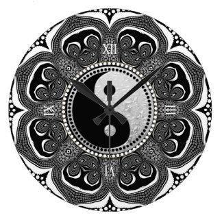 Black+White Tribal Flower New Age Symbol Large Clock