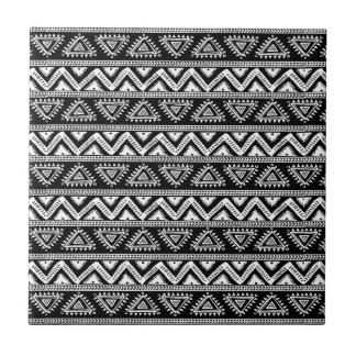Black & White Tribal Geometric Pattern Ceramic Tile