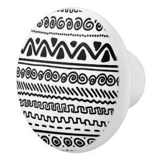 Black white tribal pattern bathroom ceramic knob