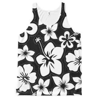 Black White Tropical Hawaiian Luau Hibiscus All-Over-Print Tank Top