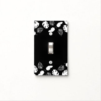 Black & White Tropical Leaves Elegant Chic Light Switch Cover
