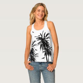 Black & White Tropical Palm Trees Circling Hawks Tank Top