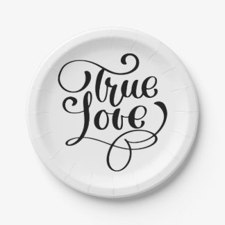 Black & White True Love Typography Wedding Party Paper Plate