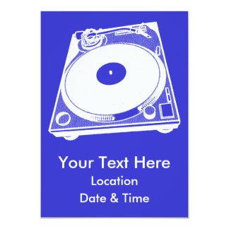 "Black & White Turntable 5"" X 7"" Invitation Card"