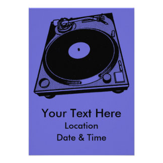Black White Turntable Custom Invite