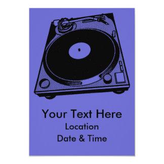 Black & White Turntable 5x7 Paper Invitation Card