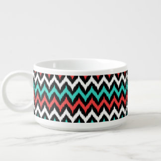 Black, White, Turquoise and Coral Zigzag Ikat Chili Bowl