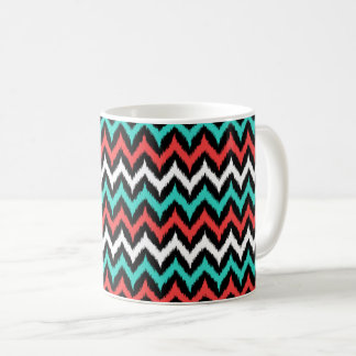 Black, White, Turquoise and Coral Zigzag Ikat Coffee Mug