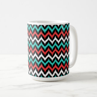 Black, White, Turquoise and Coral Zigzag Ikat Coffee Mug