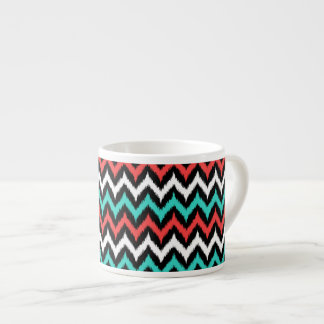 Black, White, Turquoise and Coral Zigzag Ikat Espresso Cup