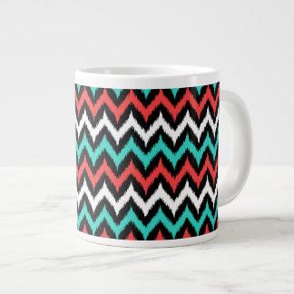 Black, White, Turquoise and Coral Zigzag Ikat Giant Coffee Mug