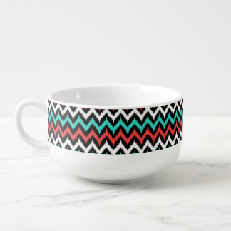 Black, White, Turquoise and Coral Zigzag Ikat Soup Mug