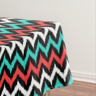 Black, White, Turquoise and Coral Zigzag Ikat Tablecloth