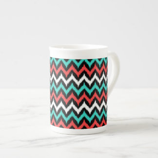 Black, White, Turquoise and Coral Zigzag Ikat Tea Cup