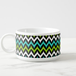 Black, White, Turquoise and Green Zigzag Ikat Bowl