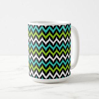 Black, White, Turquoise and Green Zigzag Ikat Coffee Mug