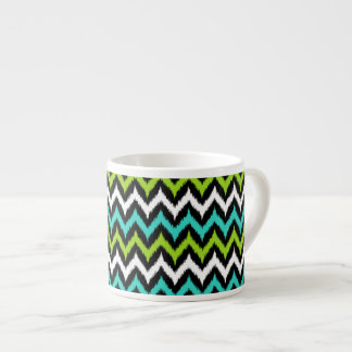 Black, White, Turquoise and Green Zigzag Ikat Espresso Cup