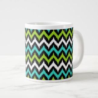 Black, White, Turquoise and Green Zigzag Ikat Large Coffee Mug