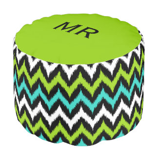 Black, White, Turquoise and Green Zigzag Ikat Pouf