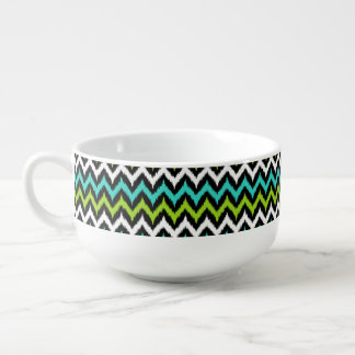 Black, White, Turquoise and Green Zigzag Ikat Soup Mug
