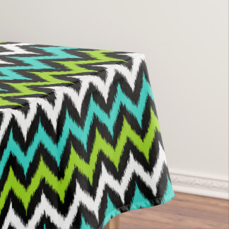 Black, White, Turquoise and Green Zigzag Ikat Tablecloth
