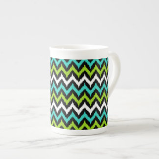 Black, White, Turquoise and Green Zigzag Ikat Tea Cup