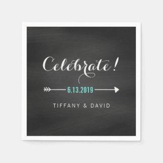 Black White Turquoise Chalkboard Celebrate Wedding Disposable Napkins