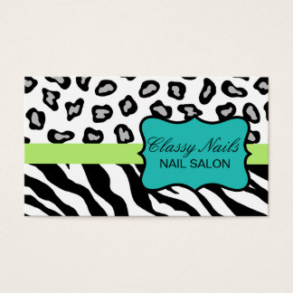 Black, White, Turquoise & Green Zebra & Cheetah Business Card